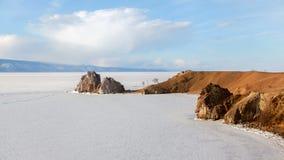 Lake Baikal Cape Burkhan landscape timelapse stock video