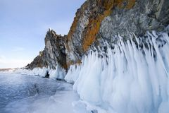 Lake Baikal is a frosty winter day. Largest fresh water lake. La stock images