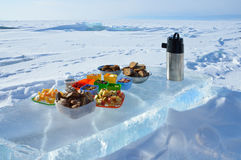 Lake Baikal,  lunch on an ice floe in the winter Stock Photography