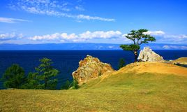 Lake Baikal. Olkhon island. Cape Burkhan. Royalty Free Stock Images