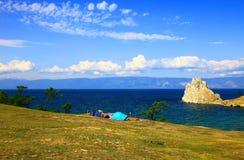 Lake Baikal. Olkhon island. Cape Burkhan. Royalty Free Stock Images