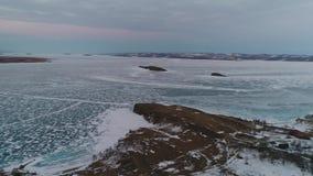 Lake Baikal in winter stock video footage