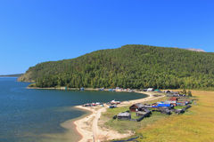 Lake Baikal with settlement Stock Images