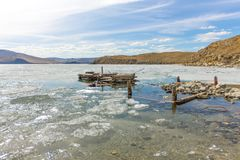 Lake Baikal in spring. old berth view of the ice drift in the small sea from the coastal rocks Stock Images