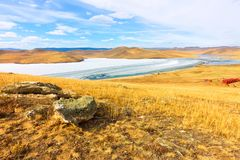 Lake Baikal in spring. View of the ice drift in the small sea from the coastal rocks Stock Images