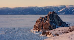 Lake Baikal in winter Royalty Free Stock Photos