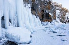Lake Baikal in winter stock images