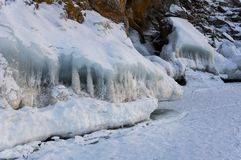 Lake Baikal in winter stock photos