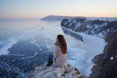 Lake Baikal at winter royalty free stock photography