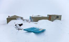 Lake Baikal. Yurt yurt fishermen on the ice.  Stock Photo