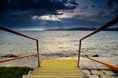 Lake Balaton. Hungary,Beach of Balatonfűzf stock photography