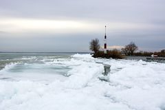 Lake Balaton at Badacsony in wintertime, Hungary. Badacsony Stock Photography