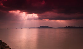 Lake Balaton with dramatic sky Stock Photo