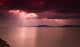 Lake Balaton with dramatic sky Stock Photo