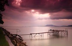 Lake Balaton with dramatic sky Stock Images