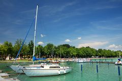 Balatonfured, June 02 2018 - Sailboats on the Balaton Lake. Balatonfured marina. Lake Balaton  is a freshwater lake in Transdanubian region of Hungary. It is the Royalty Free Stock Photography