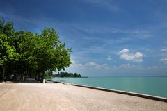 Tagore promenade, the beautiful promenade in Balatonfured. The Balaton Lake seen from Balatonfured shore. Lake Balaton  is a freshwater lake in Transdanubian Stock Images