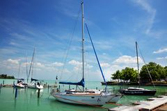 Balatonfured, June 02 2018 - Sailboats on the Balaton Lake. Balatonfured marina. Lake Balaton is a freshwater lake in Transdanubian region of Hungary. It is the Royalty Free Stock Photos