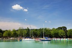 Balatonfured, June 02 2018 - Sailboats on the Balaton Lake. Balatonfured marina. Lake Balaton  is a freshwater lake in Transdanubian region of Hungary. It is the Stock Photography