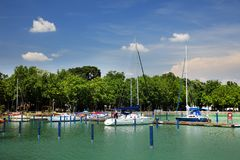 Balatonfured, June 02 2018 - Sailboats on the Balaton Lake. Balatonfured marina. Lake Balaton  is a freshwater lake in Transdanubian region of Hungary. It is the Royalty Free Stock Image