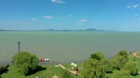 Lake Balaton, Hungary, aerial drone shot of Hungarian lake Balaton at summertime with sunny weather.