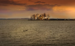 Sunset time over lake in Hungary Stock Photos