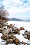 Lake Balaton In Winter Time,Tihany Royalty Free Stock Photo