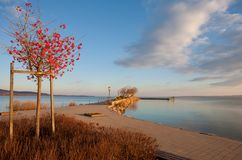 Lake Balaton, Keszthely city with the port in Hungary. Lake Balaton at Keszthely city with the port in Hungary Royalty Free Stock Image