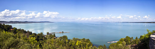 Lake Balaton, panoramic view from Tihany Abbey. Royalty Free Stock Images