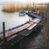 Lake Balaton pier with boat Stock Image