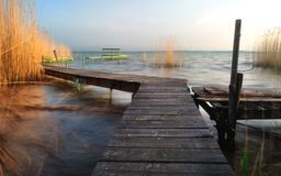 Lake Balaton pier Stock Photography