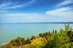 Lake Balaton with sailboats from Tihany village in Hungary royalty free stock image