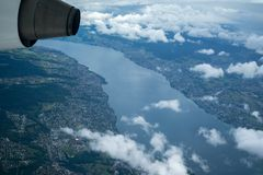 Lake Balaton seen from a airplane royalty free stock images