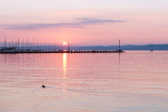 Lake Balaton in Siofok, Hungary. Beautiful sunset over Lake Balaton in Siofok, Hungary Royalty Free Stock Image