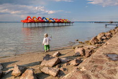 Lake Balaton. The swimming was too cold Royalty Free Stock Images