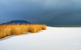 Lake Balaton in winter time Royalty Free Stock Images