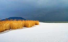 Lake Balaton in winter time Royalty Free Stock Images