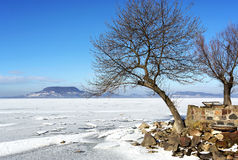Lake Balaton in winter time Stock Photos