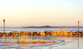 Lake Balaton in winter time,  Hungary Royalty Free Stock Photos