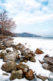 Lake Balaton in winter time,Tihany Royalty Free Stock Photo