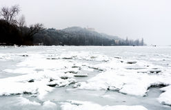 Lake Balaton in winter time at Tihany Royalty Free Stock Images