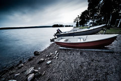 Lake bank with boats Royalty Free Stock Photography