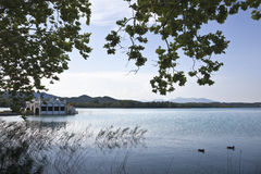 Lake of Banyoles, Girona, Spain. A view of the lake of Banoyles, in Girona, Spain Royalty Free Stock Images