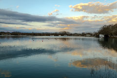Lake Banyoles, Spain Girona, Panoramic Photography at sunset. Stock Images