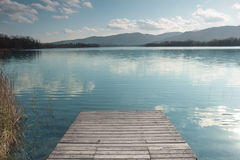 Lake Banyoles with wooden pier Stock Image