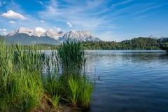 Lake Barmsee at the Karwendel mountains stock photography