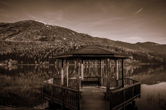 Lake Baselga di Pine' in black and white. Royalty Free Stock Image