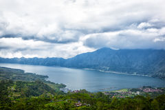 Lake Batur in a volcano crater Stock Photography