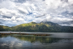 Lake Batur in a volcano crater, Indonesia Royalty Free Stock Image