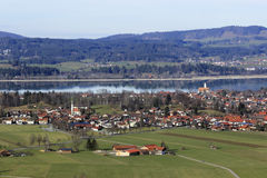 Lake in Bavaria. Lake and village in Bavaria, Germany Royalty Free Stock Photography
